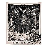 Sol, estrella y luna tapiz tapiz de pared brujería medieval retro tarjeta de tarot adivinación...