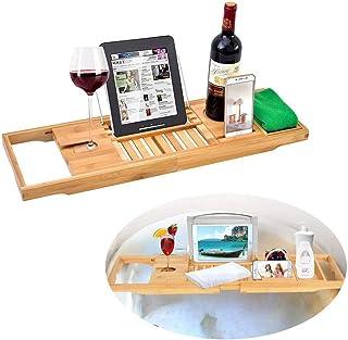 プレミアム木製バスタブトレイラック、ワイングラスホルダーとタブレットブックスタンド付きの拡張可能なバスキャディ、バスルームスパアクセサリー