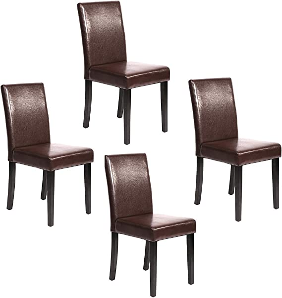 Urban Style Solid Wood Leatherette Padded Parson Dining Chairs Set Of 2 4 Brown
