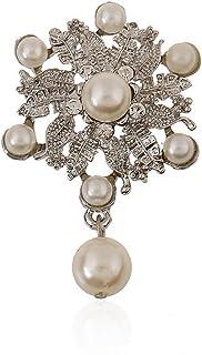 Bullidea Elegant Pin Badge Brooch Pearl Flower Crystal Brooch Pins Clips Corsage Festive Brooch Decoration for Suit Shirt ...