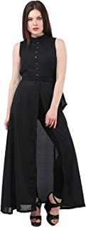 My Swag Women's Georgette Sleeveless High Neck Cape Dress