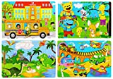 Wooden Jigsaw Puzzles Set for Kids Age 3-8 Year Old 30 Piece Colorful Wooden Puzzles for Toddler Children Learning Educational Puzzles Toys for Boys and Girls (4 Puzzles)