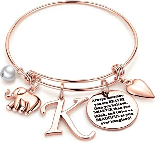 Elephant Gifts for Women Girls, Rose Gold Initial...