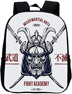 Japanese Durable Kindergarten Shoulder Bag,Distressed Rustic Featured Graphic Work of Top Heavy Samurai Mask Facial Armor Mempo For school,11.8″L x 9.4″W x 4.7″H