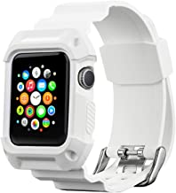 Compatible with Apple Watch Band with Case 42mm, MAIRUI Rugged Protective G Shock Replacement Wristband for Apple Watch Series 3/2/1, iWatch Nike+/Sport/Edition (White)