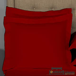 Pillow sham Set of 2 Burgundy Solid 800 Thread Count...
