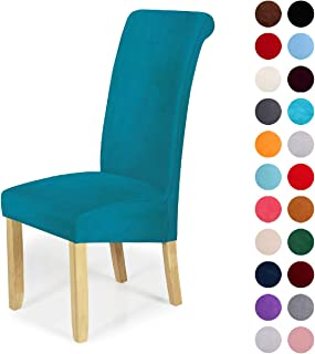 Velvet Stretch Dining Chair Slipcovers - Spandex Plush Short Chair Covers Solid Large Dining Room Chair Protector Home Decor Set of 4, Peacock Green