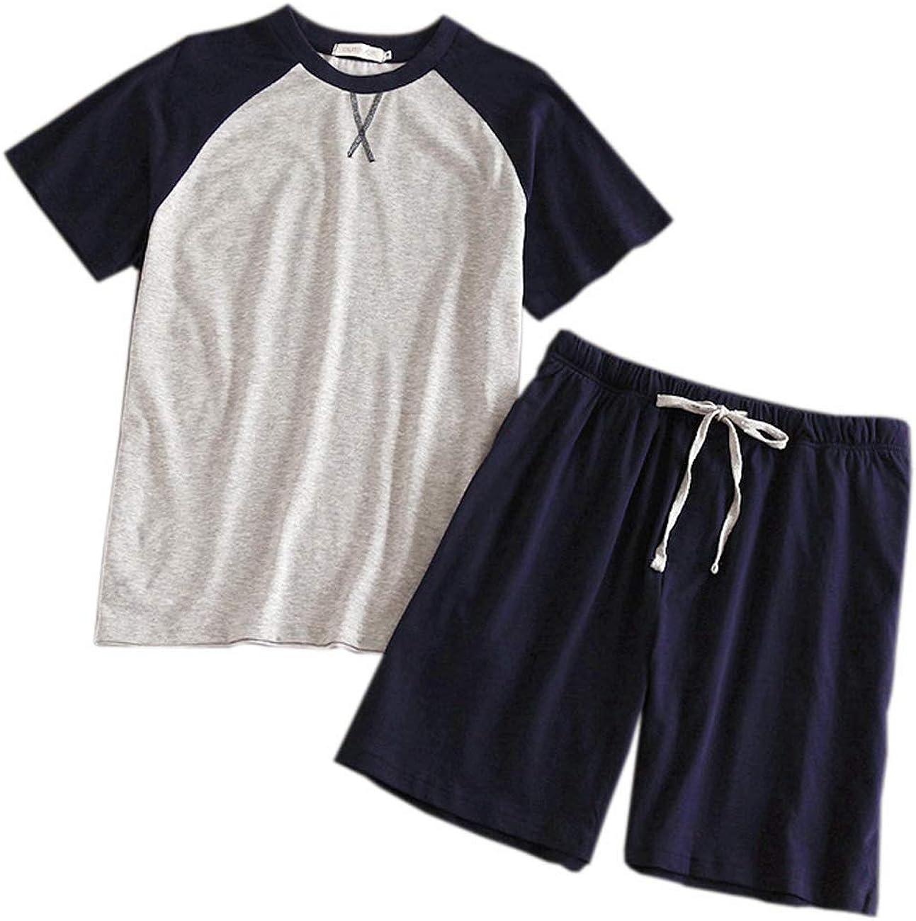 GLOSTORY Men Two Piece Cotton Pajamas Sets Summer Short Sleeve T shirts with Shorts Sleepwear Set