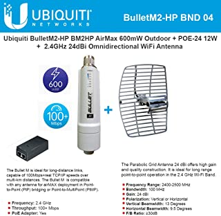 BulletM2 High Power Access Point 2.4 GHz 28dBm Outdoor airMAX Radio with PoE 24V 12W and Reflector Grid WiFi Antenna 24dBi 2.4Ghz