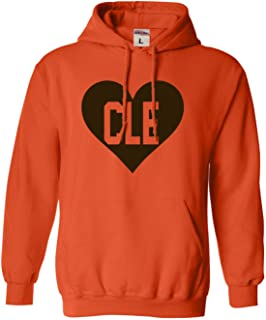 Adult and Youth I Love Cleveland Heart CLE Football Sweatshirt Hoodie