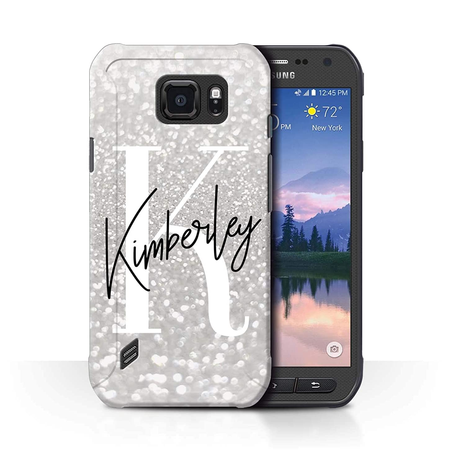 Personalized Custom Faded Look Glitter Effect Case for Samsung Galaxy S6 Active/G890 / Minimalist Silver Finish Design/Initial/Name/Text DIY Cover