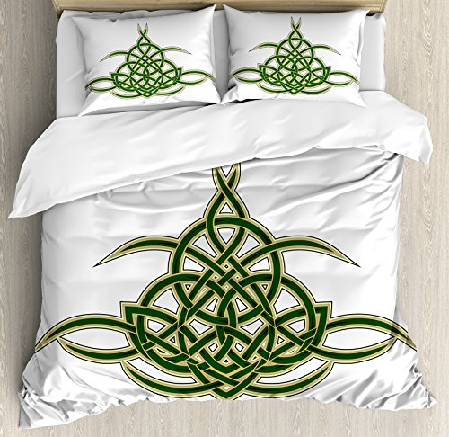 Ambesonne Celtic Duvet Cover Set, Original Celtic Shield Gothic Design Abstract Scotland Medieval Style Art, Decorative 3 Piece Bedding Set with 2 Pillow Shams, King Size, Yellow Green