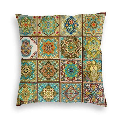 Mandala Talavera - Fundas de almohada decorativas con azulejos mexicanos para decoración del hogar, sofá, dormitorio, sofá, silla, coche, 45,7 x 45,7 cm