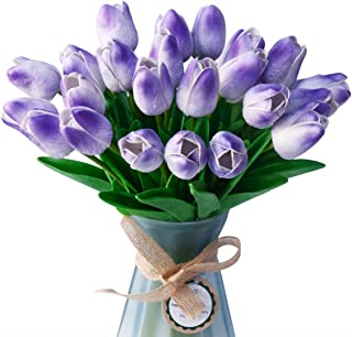 LUYAR 30 PCS Artificial Real-Touch Tulips, Fake Tulips Flowers - Holland Mini Faux Flowers Tulips Great for Wedding Party Home & Outdoor Decor(Light Purple)