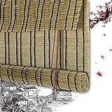 Persianas Enrollables De Bambú Persianas Romanas De Bambú Persianas Persianas De Madera - Cortina Natural De Plástico PE con Cordón Operación Sombreado Sombreado Personalizable (Color: A, 100x150CM)