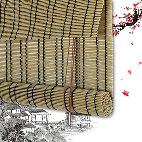 Bamboe Rolgordijnen Bamboe Vouwgordijnen Jaloezieën Houten Jaloezieën - PE Kunststof Natuurlijk Gordijn Met Trekkoord Bediening Schaduw Verduistering Aanpasbaar (kleur: A, Afmeting: 100x150cm)