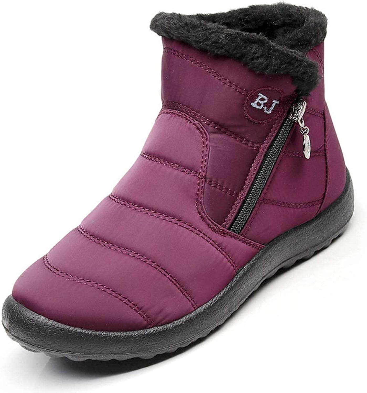 JOYBI Women's Winter Waterproof Short Snow Boots Zip Down Flat Round Toe Slip On Warm Outdoor Ankle Booties
