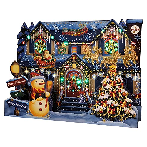 Miss Girlie Girl Illuminated Christmas Home Lights and 6 Music Pop Up Greeting Card