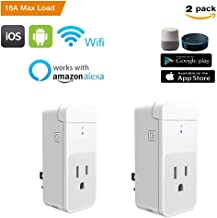 Wifi Smart Plug Wireless Smart Socket Compatible with Amazon Alexa and Google Home 16A With Power Metering Timing Function Control Device and Remote Control Your Appliances Anywhere 2 Pack Included