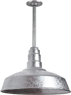 The Carson Modern Farmhouse Pendant Light | Steel Barn Light with Rigid Stem for Ceiling | Heavy Duty Steel Light | Made in America | Strong Industrial Lighting (Galvanized)