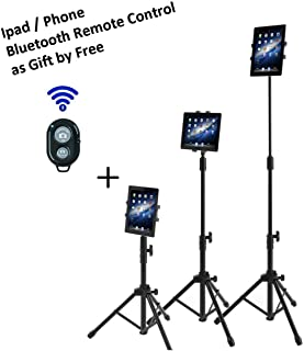 Ipad Tripod Mount Floor Stand, Vstyle Height Adjustable 20 to 60 Inch Tablet Tripod Stand Mount For Ipad ,Ipad Mini and Others Within 7-10 Inch (Classic Tripod+Bluetooth Remote Control)