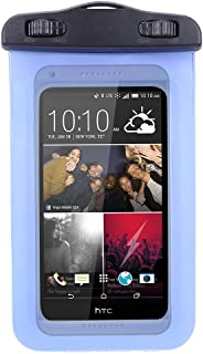 Universal Protective Waterproof Bag Pouch Cover Case for HTC One M9, Plus, E9, M8, M8s, M7, X, Mini, ZTE Axon, Nubia, V987, Z998 with Responsive Screen Protector Windows and Strap with Wristband, Blue