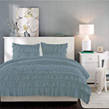 اطقم اغطية سرير مصنعة من قطن مصري من شركة برايت لينين بتصميم لون موحد ، لون ازرق - قياس كينغ