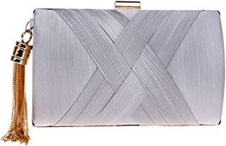 Women Satin Evening Bag Clutch Party Wedding Handbag with Chain Strap