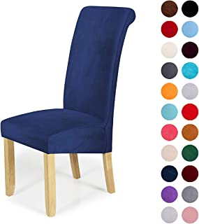 Velvet Stretch Dining Chair Slipcovers – Spandex Plush Short Chair Covers Solid..