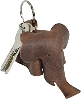 Critter Keychain Elephant Fob Charm Rustic Leather Animal Key Holder Charm Pendant Handmade by Hide & Drink :: Bourbon Brown