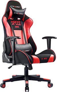 GTRACING Gaming Chair PU & Mesh Racing Chair Backrest and Height Adjustable E-Sports Ergonomic Chair with Headrest Lumbar Support Pillows GT000 Red