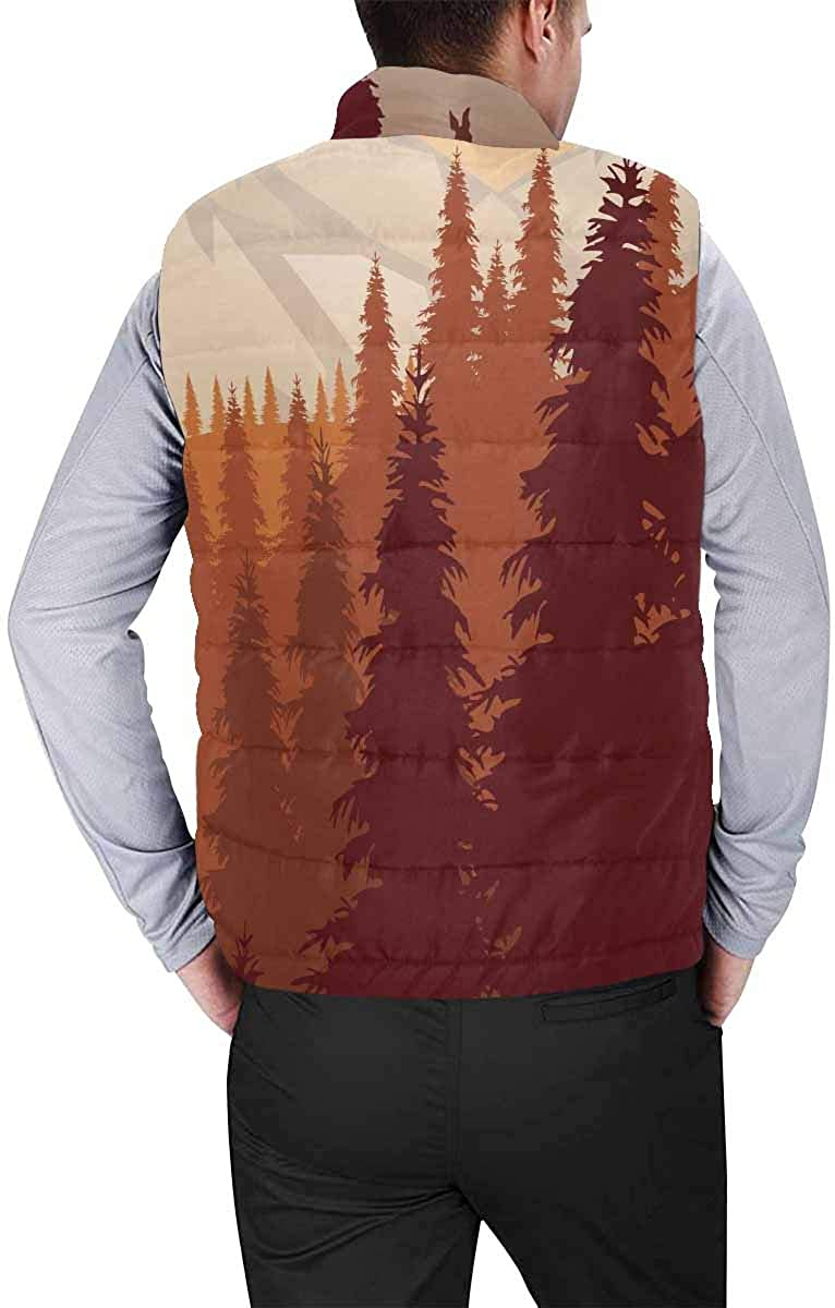 InterestPrint Winter Outwear Casual Padded Vest Coats for Men Ladybugs in Colors