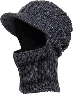 DENOTA Mens Visor Beanie Knit Hat Winter Warm Thick Fleece Lined Skull Cap for Outdoor Sports B321