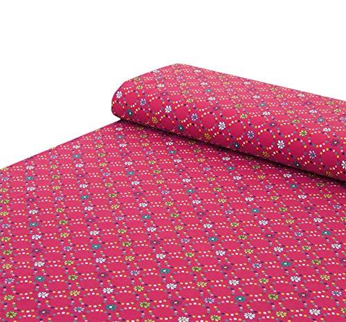 Nadeltraum Baumwoll - Jersey Stoff Blumen Punkte pink - Meterware ab 25 cm x 150 cm - Stoff zum Nähen