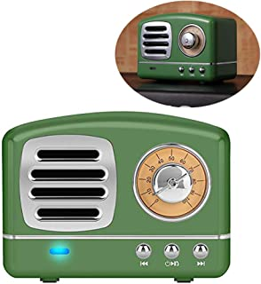 Enhanced Bass Retro Wireless Vintage Speaker Portable Stereo Speaker TF Card Slot,USB Port,Built-in Mic Outdoors,Beach,Home,Travel,Compatible for Android/iOS Devices(Olive Green)