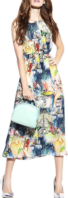 CDCLOTH Women's Summer Print Mulberry Silk Long Dress Silk Sleeveless Vest Dress
