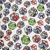 Kt KILOtela Tela popelín Estampada Digital - 100% algodón orgánico Gots - Retal de 50 cm Largo x 150 cm Ancho   Los Vengadores ─ 0,50 Metro
