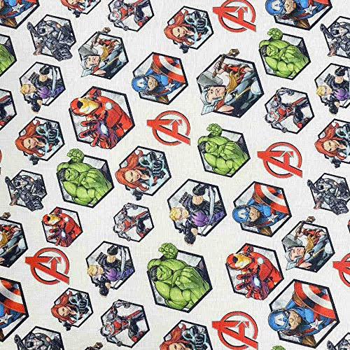 Kt KILOtela Tela popelín Estampada Digital - 100% algodón orgánico Gots - Retal de 50 cm Largo x 150 cm Ancho | Los Vengadores ─ 0,50 Metro