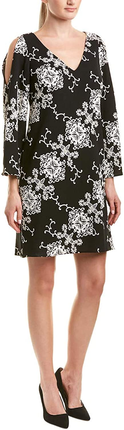 Adrianna Papell Womens Cold Shoulder Shift Dress