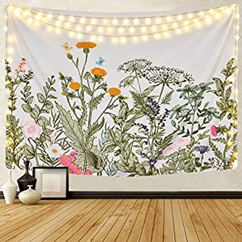 Colorful Floral Plants Tapestry Vintage Herbs Tapestry Wild Flowers Tapestry Wall Hanging Nature Scenery Tapestry for Living Room Bedroom