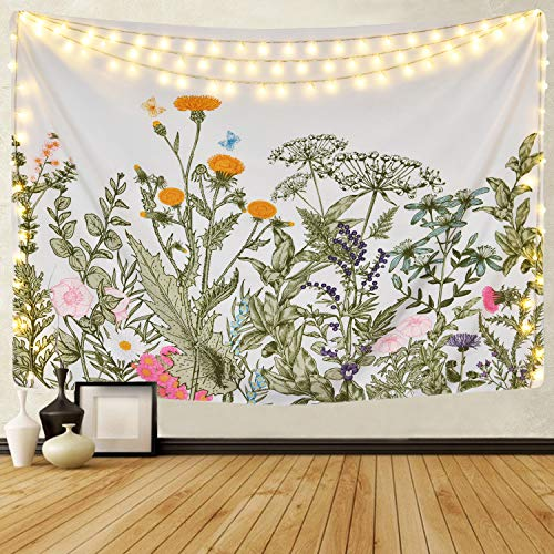 Alishomtll Colorful Floral Plants Tapestry Vintage Herbs Tapestry Wild Flowers Tapestry Wall Hanging Nature Scenery Tapestry for Living Room Bedroom