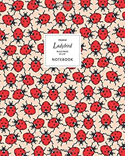 Ladybird Notebook - Ruled Pages - 8x10 - Premium: (Peach Edition) Fun notebook 192 ruled/lined pages (8x10 inches / 20.3x2...
