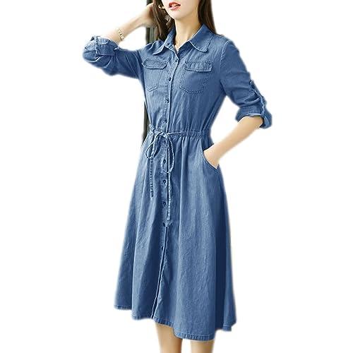 3a6db580898 Pinkyee Distressed Rivet Denim Long Shirt Dress Leather Belt Light Blue