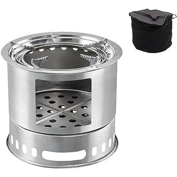 バーベキューコンロ マルチコンロ 薪ストーブ 炭受け皿付き 収納袋付き 燻製器グリラー 組立式 (ad151シルバー) [並行輸入品]