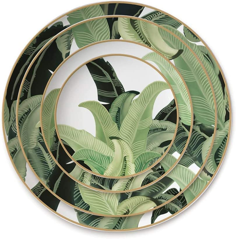 Table Decoration gift Plate 4 Pieces Max 77% OFF of Bone Tableware Green China Le