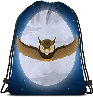 Gimnasio Bolsas con cordón Mochila Búho Deportivo Volando Luna Llena Espacio de la Estrella Texto de Vacaciones de Halloween Postal de Noche de Halloween Color
