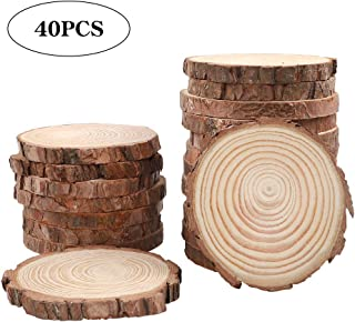 CEWOR Natural Wood Slices 40pcs 3.5-4.0 Inches Round Circles Unfinished Tree Bark Log Discs for Crafts Christmas Ornaments DIY Arts Rustic Wedding Decoration