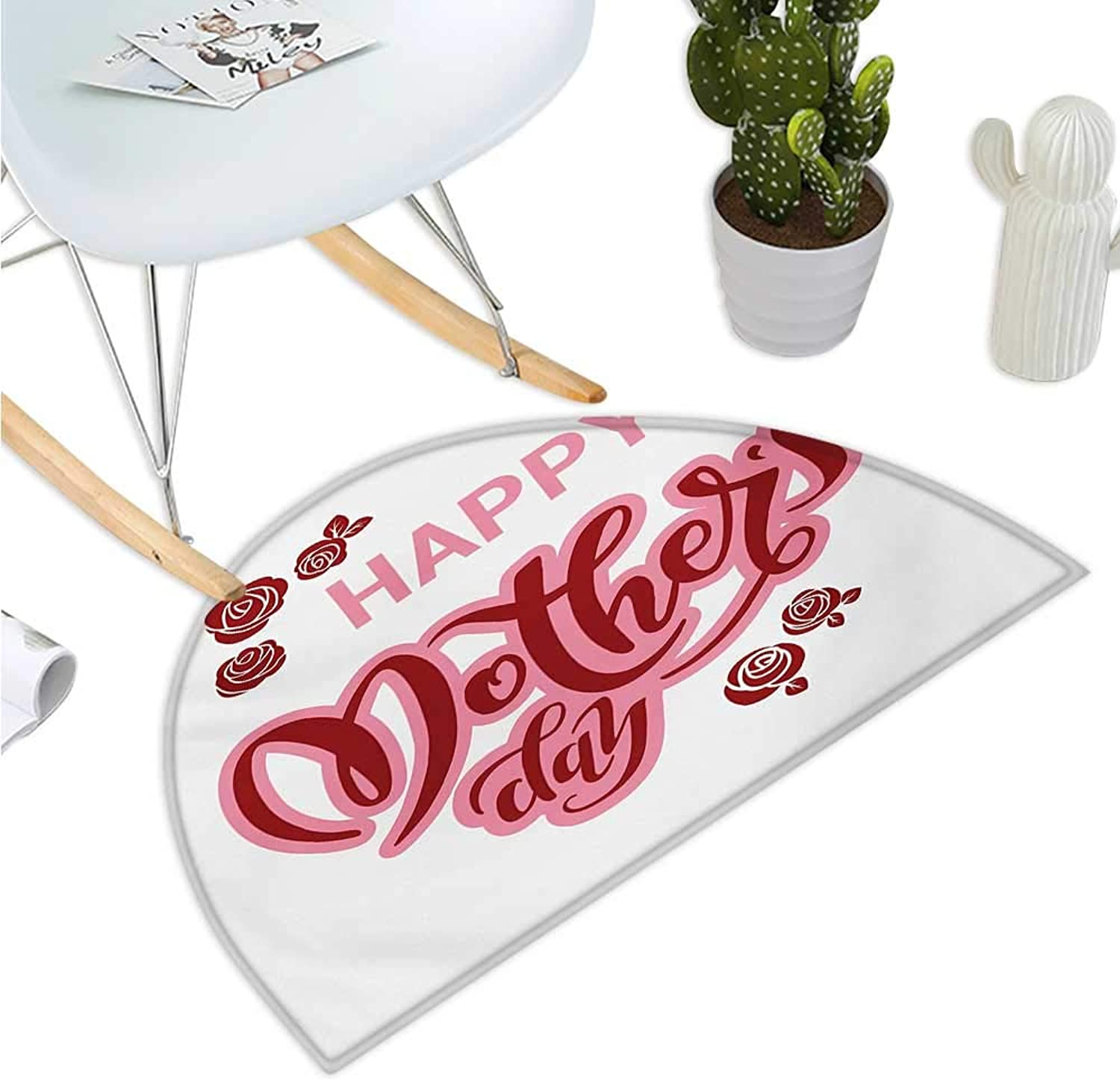 Quote Half Round Door mats Happy Mothers Day Greeting Text in Pink and Red Shades with pink Blooms Bathroom Mat H 39.3  xD 59  Pale Pink Ruby and White