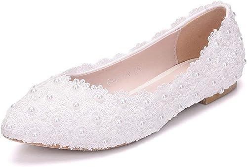 ZHRUI Las Damas de Encaje de Flores de Encaje se Deslizan en la Boda del Partido Formal de Noche de Ballet Pisos (Color   blanco-Flat, tamaño   4 UK)