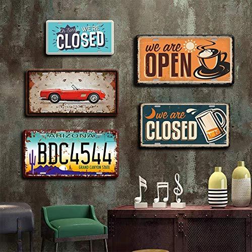 AYLAODI Cartel De Arte De Pared Abierto Cerrado Placa De Letrero De Metal Placa De Metal Vintage Pub Habitación Dormitorio Dulce Decoración del Hogar Accesorios